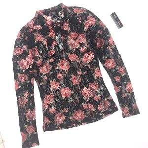 Forever21 Contemporary Rose Sheer Top